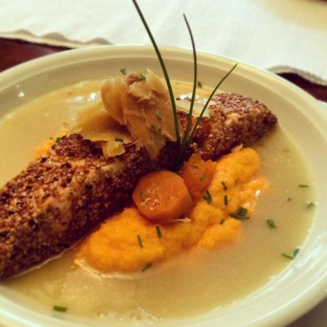 salmão com gergelim